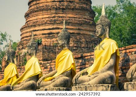 Old Temple Wat Yai Chai Mongkhon of Ayuthaya Province Thailand - stock photo