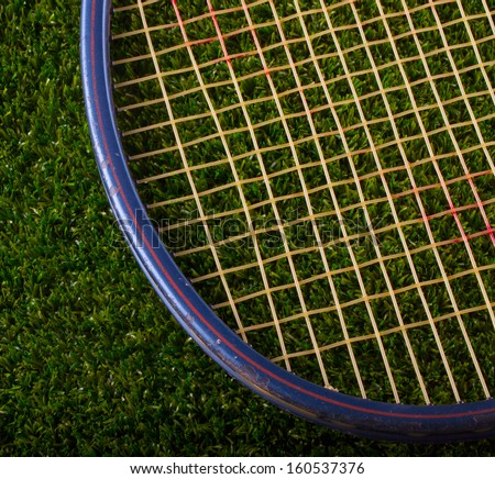 Old tennis racket resting on a grass background - stock photo