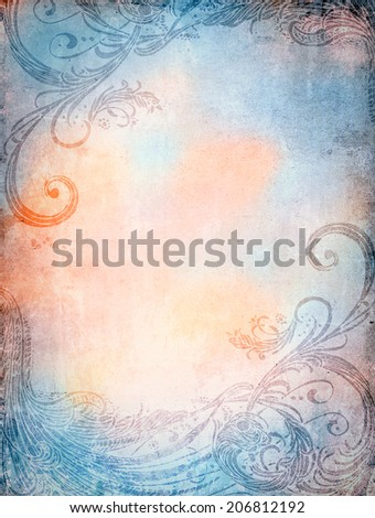 old texture with ornaments - stock photo