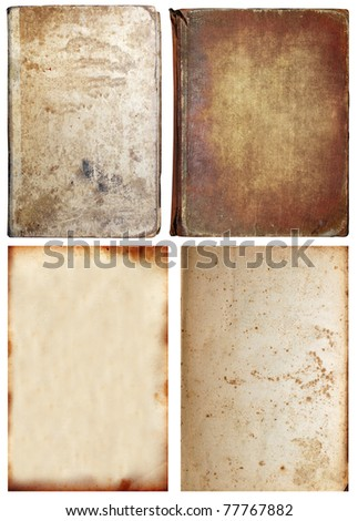 Old textures set isolated on white, paper and book - stock photo