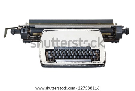Old Thai Land type writer isolated on white - stock photo