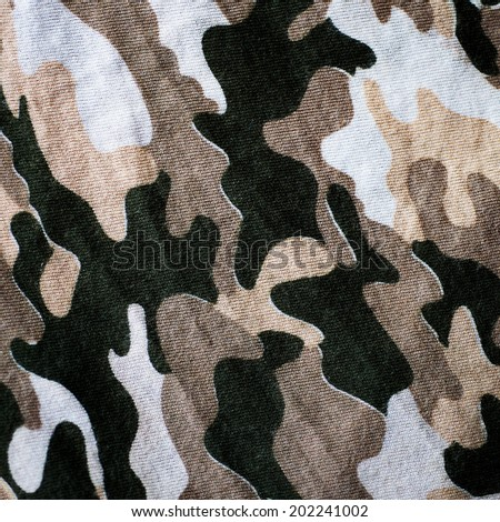 Old Thai Military camouflage fabric - stock photo