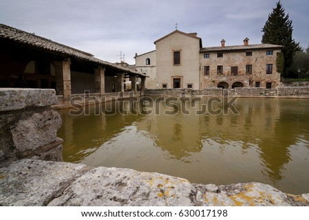 Old Thermal Baths Medieval Village Bagno Stock Photo 630017198 ...