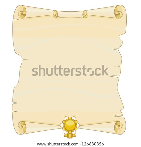 Old thorn and curled parchment with golden emblem