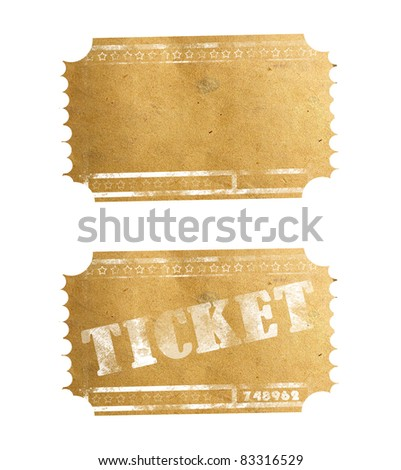 Old ticket isolated on white - stock photo