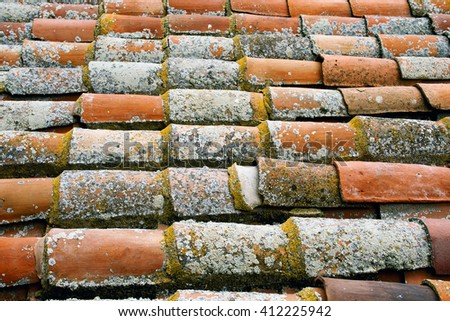 Old tile of ancient cathedral in Salamanca (Spain) - stock photo