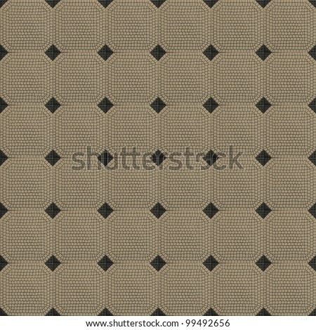 Old tiled beige ceramic mosaic with black square shaped corners - infinite texture - stock photo