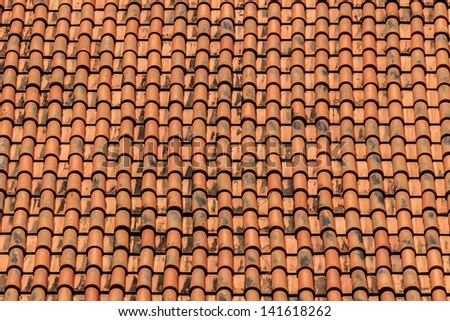 Old Tiles Roof Background - stock photo