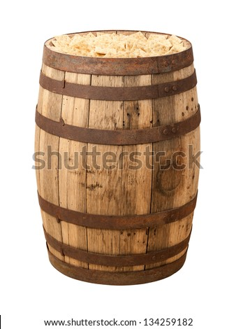 Old Time Cracker Barrel isolated with a clipping path.  Crackers were just shipped as generic items in barrels to general stores in North America, where they would be sold by the handful. - stock photo