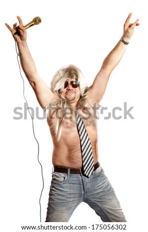 old-time rock singer with a microphone on a white background - stock photo