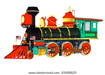Old time Steam Engine train. Side view, American flags on front. Isolated clip art cutout illustration on clean white background - stock photo