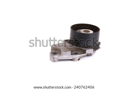 Old timing pulley, isolate on white - stock photo
