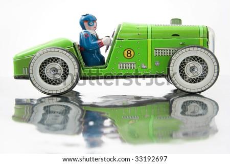 old tin race car - stock photo
