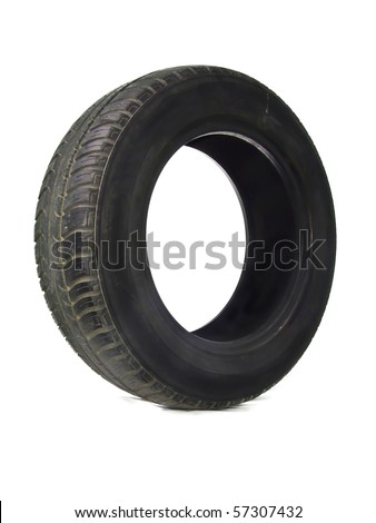 Old tire on white - stock photo