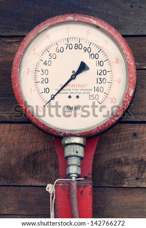 old tire pump - stock photo