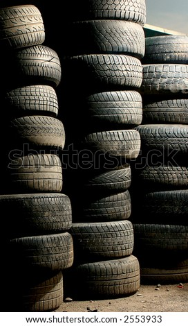 Old tires background - stock photo