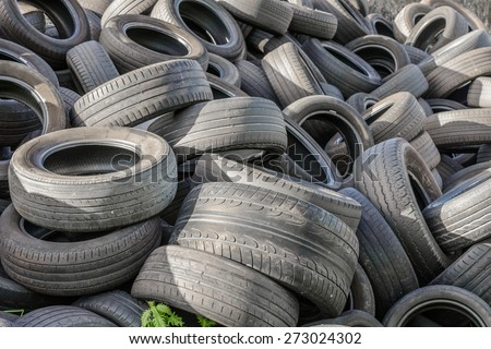 old tires in a landfill