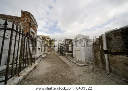 Old tombs in an historic New Orleans cemetary - stock photo