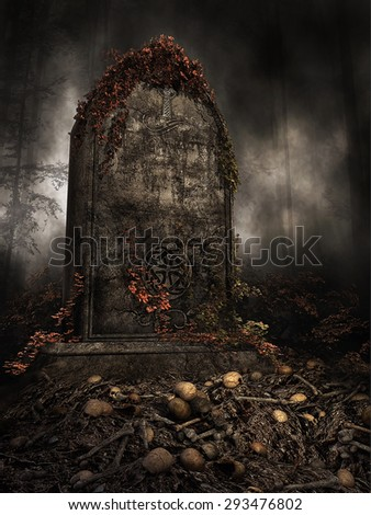 Old tombstone with autumn ivy on a pile of skulls - stock photo