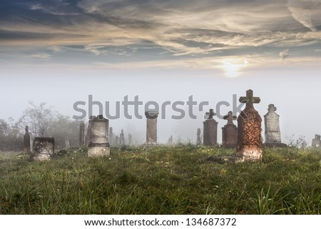 Old tombstones in abandoned old cemetery - stock photo