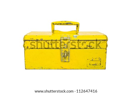 Old tool box isolate on white background - stock photo