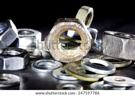 old tools, parts - stock photo