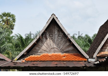 Old Top Roof Triangle Wood - stock photo