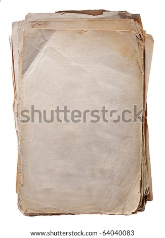 old  torn  book with blank front page. isolated on white