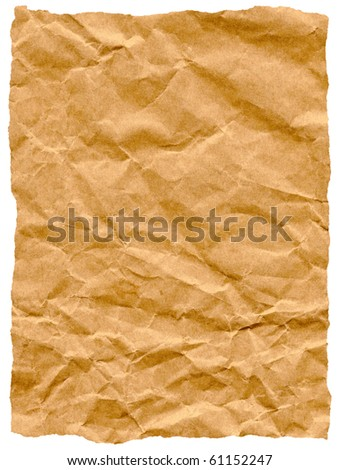 Old torn crumpled paper bag texture isolated on white. - stock photo