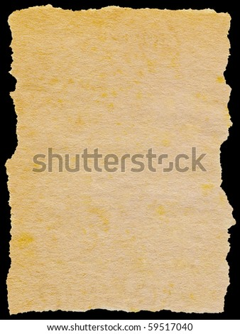 Old torn paper isolated on a black background. - stock photo