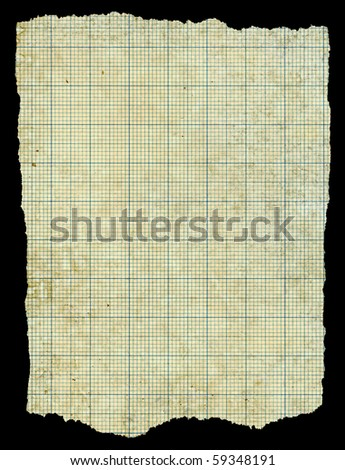 Old torn stained dirty graph paper isolated black background. - stock photo