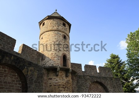 old tower called Hexenturm in Kirchhain in Germany