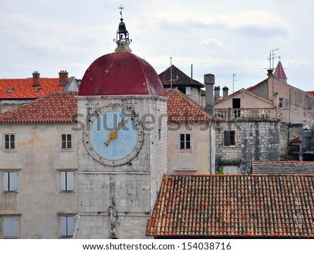 Old tower clock in Trogir, Croatia - stock photo