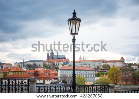 Old Town ancient architecture and river pier in Prague, Czech Republic - stock photo