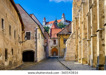 Old town and castle of Bratislava, Slovakia - stock photo