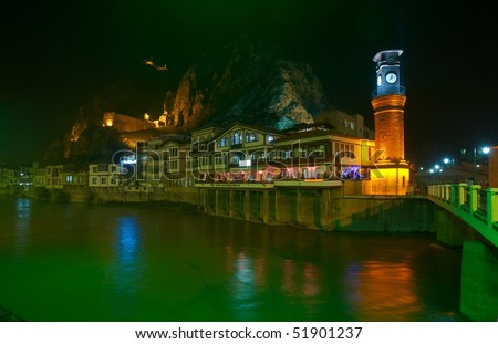 Old town and clock-tower at night, Amasya, Turkey