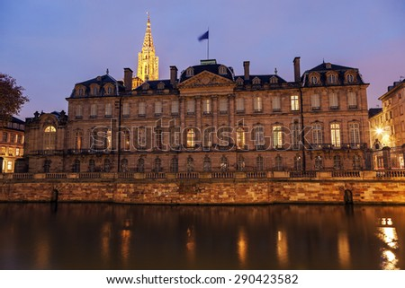 Old Town architecture with Palais Rohan and Strasbourg Minster. Strasbourg, Alsace, France - stock photo