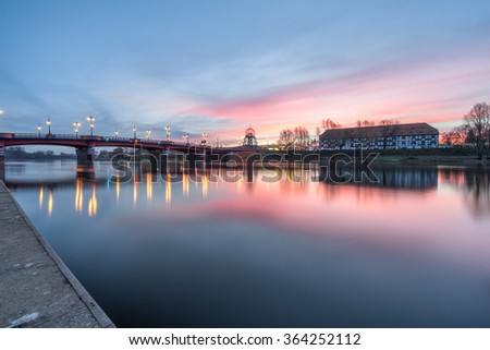 Old town bridge and Warta river at sunrise in Gorzow, Poland