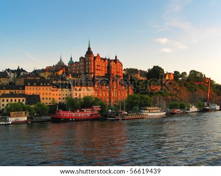 Old Town cityscape in Stockholm, Sweden - stock photo