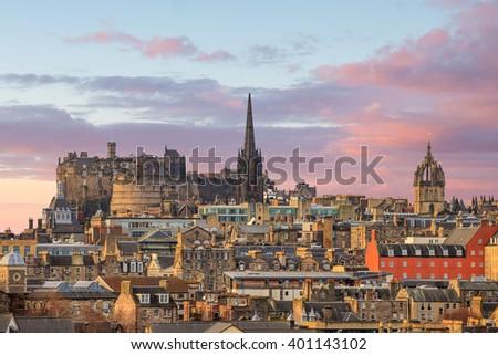 Old town Edinburgh and Edinburgh castle in Scotland UK - stock photo