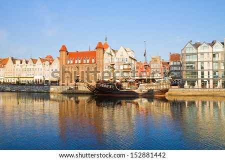 Old town embankment, Gdansk ,  Poland - stock photo