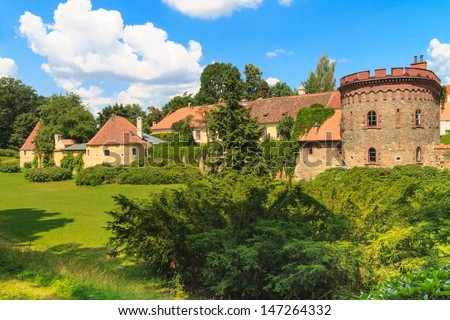 Old town fortification in Trebon (in German Wittingau), Czech Republic - stock photo