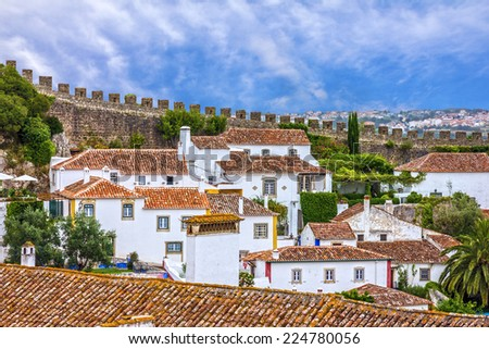 Old town, fortress, Obidos, Portugal  - stock photo