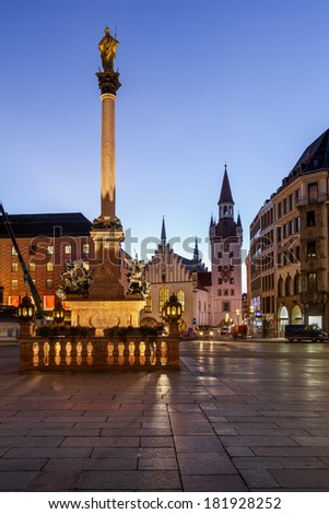 Old Town Hall and Marienplatz in the Morning, Munich, Bavaria, Germany - stock photo