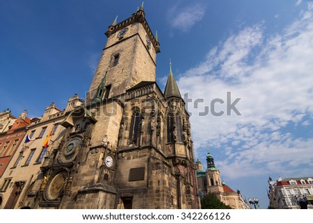 Old Town Hall with Astronomical Clock on Old Town Square - stock photo