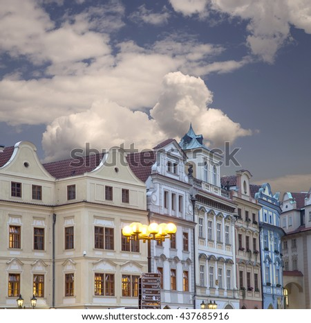 Old town houses (Night view ) in Prague, Czech Republic   - stock photo