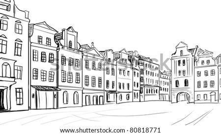 old town - illustration sketch - stock photo