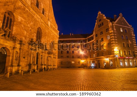 Old Town in Riga (Latvia) at night - stock photo