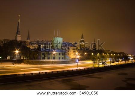 Old town in Riga, Latvia, at night - stock photo