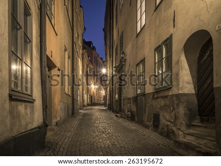 Old Town in Stockholm, Sweden, at night. - stock photo